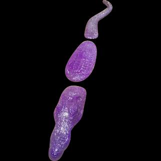 Crocodile sculpture in purple resin