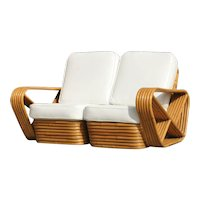 6 Strand Square Pretzel Stacked Rattan Loveseat