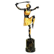 1920s Art Deco Bronze Warrior Woman by Josef Lorenzl