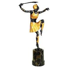 1920s Art Deco Bronze Warrior Woman by Josef Lorenzl
