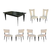 Paul Laszlo Black Lacquer Dining Set for Brown Saltman