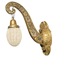 Hollywood Regency Brass and Crystal Sconce