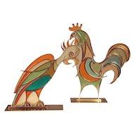 Hans Hagenauer Rooster & Parrot Figures