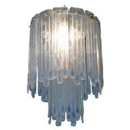 Mid-Century Opaline Murano Glass Chandelier Attributed to Mazzega