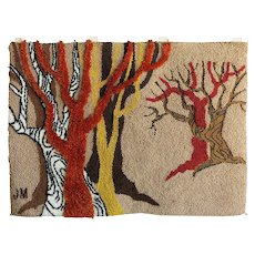 Post Modern Hand-Hooked Tapestry Rug