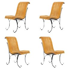 Set of 4, Gold Dining Chairs with a Scrolled Bronze & Iron Base