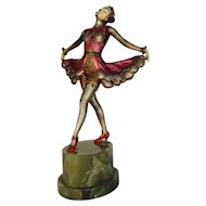 French Art Deco Ballets Russes Spelter and Ivorine Dancer