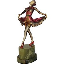 French Art Deco Ballets Russes Spelter and Ivorine Dancer