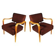 Mid-Century Modern Thonet Bent Plywood Armchairs, Pair