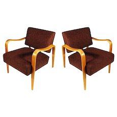 Mid-Century Modern Thonet Bent Plywood Armchairs, Pair