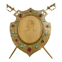 Antique Brass Sword and Shield Picture Frame circa 1860