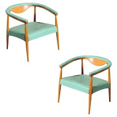 Mid-Century Modern Wegner Inspired Barrel Back Armchairs, Pair