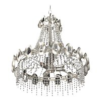 Chrome & Beaded Crystal Chandelier