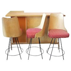 Mid-Century Modern Bar with Matching Bent Wood Bar Stools