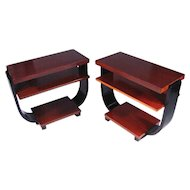 Art Deco Three-Tier Side Tables by Brown Saltman, Pair