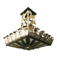 Grand Hollywood Theater Chandelier with Palm Motif
