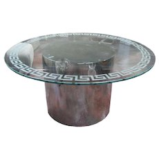 Greek Key Motif Glass Topped Drum Base Dining Table in Manner of Milo Baughman