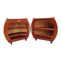 Large 1940s Rattan and Mahogany Pumpkin Bar