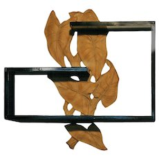 Mid Century Wall Shelf with hand Carved Leaf Pattern