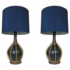 Large Mid Century Pottery Gold Tone Chain Lamps w/ shade