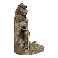 Bronze Sculptural Lighted Ink Well in the style of Jean Garnier