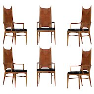 Set of 6 High Back Cathedral Danish Modern Dining Chairs