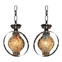 Murano Glass Pendant Lights, Pair , Chandelier