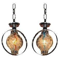Murano Glass Pendant Lights, Pair , Chandelier