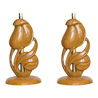 Yasha Heifetz Carved Oak Lamps