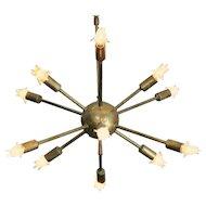 Mid Century Modernist Brass Sputnik Chandelier
