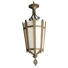 "Art Deco Bronze and Glass """"Federal"""" Chandelier"