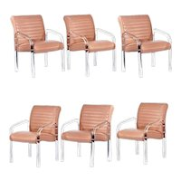 Lucite and Leather Lounge Chairs by Leon Frost, 6 available