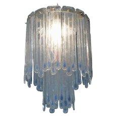 Mid-Century Opaline Murano Glass Chandelier Attributed to Mazzega