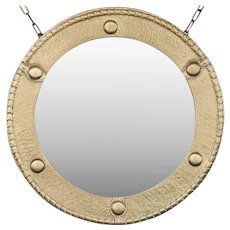 Antique Brass Federal Round Wall Mirror