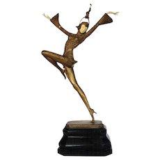 "Chryselephantine ""Eastern Dancer"" Bronze Sculpture by Gustav Schmidt-Cassel"
