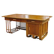 Large Jean Royere Style Streamline Rattan Executive Desk