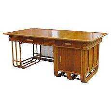 Large Jean Royere Style Streamline Rattan Executive Desk