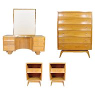Paul Frankl Four Piece Bedroom Set for Brown Saltman