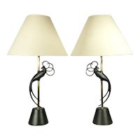 Rembrandt Lovebird Table Lamps in Brass & Iron, Pair