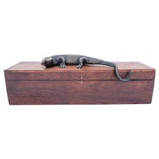 Black Walnut Box with Lizard Decoration