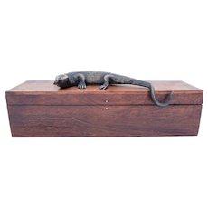 Black Walnut Box with Lizard Decoration