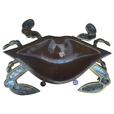Silver & Copper Inlaid Crab