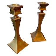 German Brass Candlesticks in the Style of Tommi Parzinger