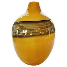 Art Glass Vase with Swirl Accent