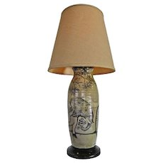 Large Hand Painted Ceramic Table Lamp