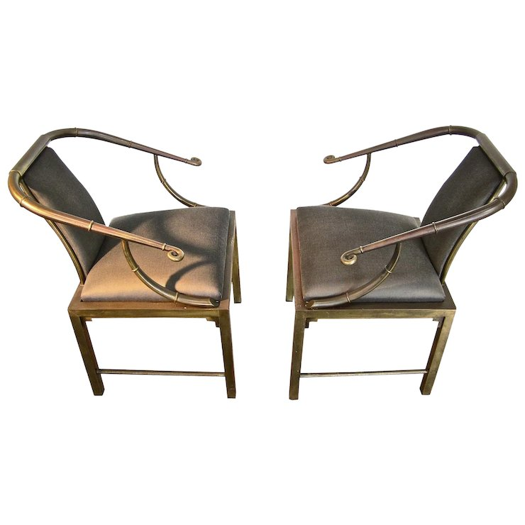 Oriental style furniture Modern Pair Of Mastercraft Brass Chairs In The Oriental Style Material Environment Rubylux Pair Of Mastercraft Brass Chairs In The Oriental Style Material