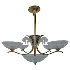 Italian Opalescent Glass Chandelier after Sabino