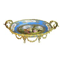 Large Sèvres Style Porcelain Gilt Metal Mounted Centerpiece