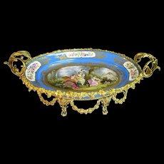 Large Sèvres Style Porcelain Gilt Metal Mounted Centerpiece