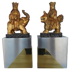 Late 20th Century Chinese Royal Figures Mounted on Paul Evan Style Bases
